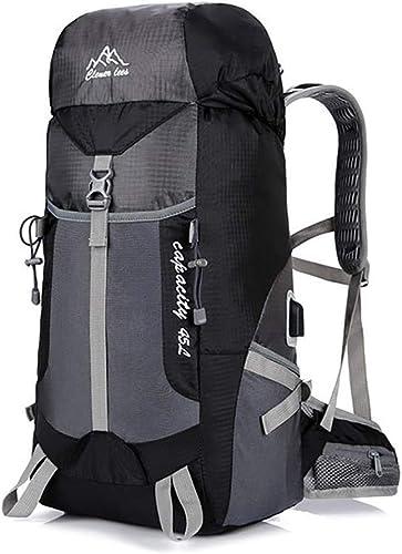 DYYTR 45L randonnée Sac à Dos, Sac à Dos Mountaineer, Grande capacité Sac à Dos Voyage de plein air Alpinisme Sac USB Charge Sac à Dos Sac à Dos Sport,noir