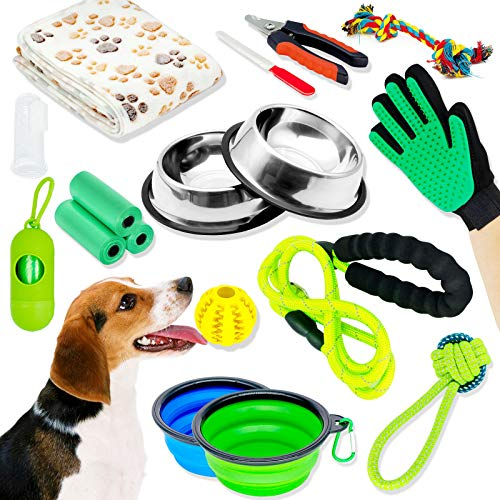 Puppy Starter Kit, Dog Starter Kit, Puppy Kit, 16Pcs Puppy Supplies Essentials, Includes: Dog Feeding Supplies, Dog Toys, Dog Grooming Tool, Dog Bed Blanket, Puppy Training Supplies, Dog Leash