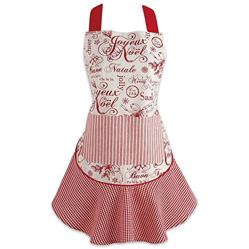 DII Vintage Christmas Collection Apron, One Size, Joyeux Noel,CAMZ35785