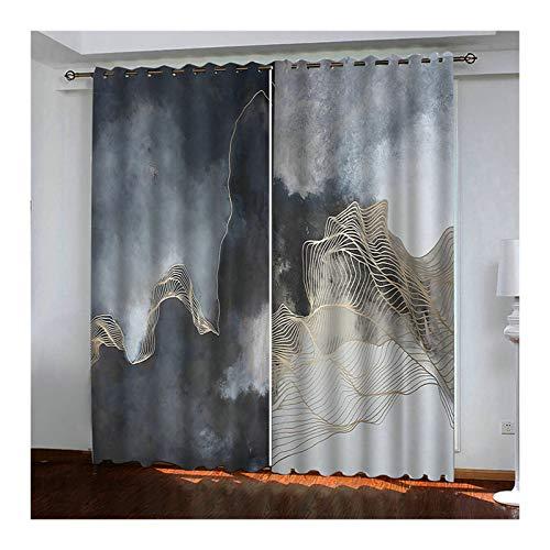 Aeici Verdunklungsvorhänge Jugendzimmer Aquarell-Berg Vorhang Outdoor Schwarz Vorhänge 214X160Cm Vorhang für Schlafzimmer
