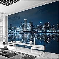 Xbwy 装飾壁画の壁紙現代の夜景都市の建物の壁紙リビングルームの背景壁の装飾壁画-350X250Cm