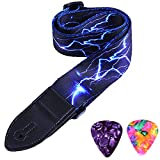 WOGOD Guitar Strap Jacquard Weave Hootenanny Guitar Strap with Leather Ends (Blue Light)