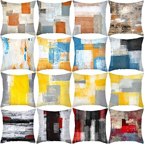 HOUMEL Juego de 4 fundas de cojín de 45 cm x 45 cm, diseño geométrico amarillo y blanco, funda de almohada cuadrada suave decorativa para sala de estar, sofá, cama, fundas de almohada (18' x 18') 266