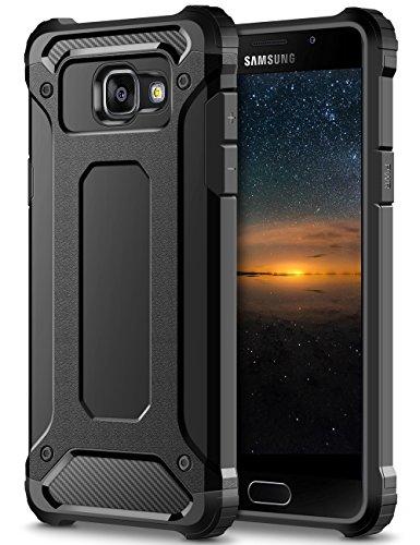 Coolden Samsung Galaxy A3 2016 Hülle, Premium [Armor Serie] Outdoor Stoßfest Schutzhülle Tough Silikon + Hard Bumper 4 Air Cushion Ecken Militärstandard Handyhülle für Samsung Galaxy A3 2016(Schwarz)