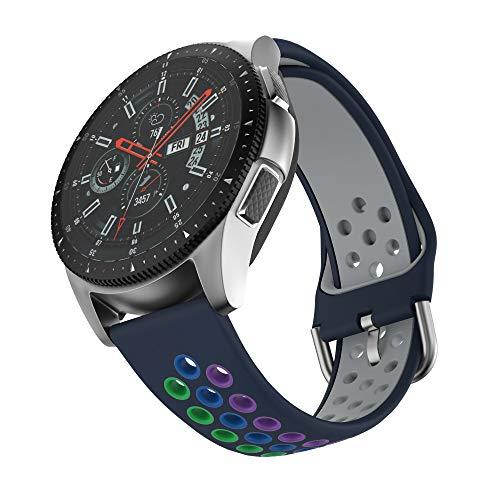 ISABAKE 22mm Correa Reloj para Galaxy Watch 46mm/Gear S3 Frontier/Gear S3 Classic/Moto 360 2nd Gen/Huawei Watch 2 Classic, Quick Releae Correa Reloj de Repuesto de Silicona Suave