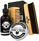 Beard Brush, Beard Wash, Beard Oil, Beard Balm, Beard Comb & Scissors Grooming Kit for Men's Care, Travel Bamboo Facial Hair Set for Growth, Styling, Shine & Softness, Great Gifts for Him