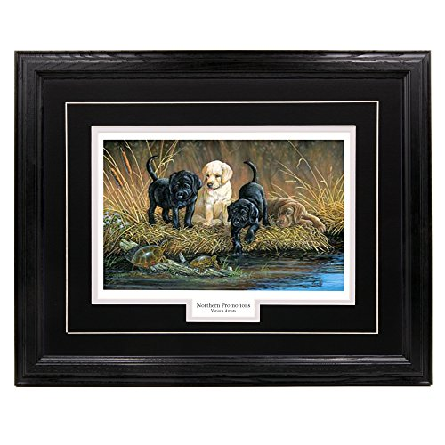 Northern Promotions LLC Lab Puppies Wall Art Hunting Decoration Wood Picture Frame - Wildlife Painted Décor 5 Mat Colors 4 Custom Moldings Turtle Hunters Terry Doughty 17x21 Black Frame Black Mat