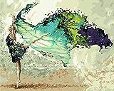 Pintar por numeros Adultos Bailarina Verde – Cuadros para Pintar por números con Pinceles y Colores Brillantes – Lienzos para Pintar con Dibujo – Sin Marco