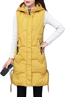 Womens Tank Top Sleeveless Outwear Parka Coat Jacket Thick Solid Color Hooded Warm Tank Tops