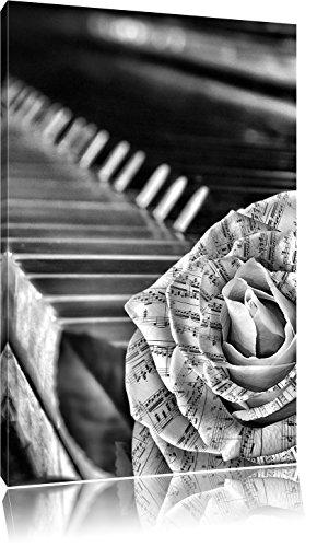 Pixxprint Noten neben Klavier als Leinwandbild | Größe: 120x80 | Wandbild| Kunstdruck | fertig bespannt