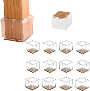 HOTSO 12 Piezas Tapones de Silicona Antideslizante de Mesa, Sillas Protector con Fieltro Pegado Silicona Suelo de Arañazos y Ruidos Transparente-Forma Cuadrado (30-35mm)