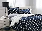 Elegant Comfort  Softest, Coziest Premium Quality Heavy Weight Bloomingdale Pattern Micromink Sherpa-Backing Reversible Down Alternative Micro-Suede 2-Piece Comforter Set Twin Navy Blue