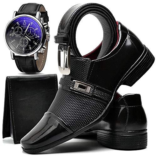Kit Sapato Social Verniz Com Relógio Cinto Carteira Masculino ZARU 814DB Tamanho:40;cor:Preto;gênero:Masculino