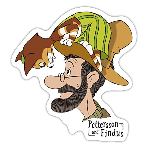 Spreadshirt Pettersson Und Findus Unterhalten Sich Sticker, 10 x 10 cm, Mattweiß