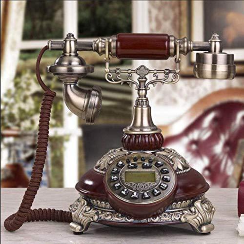 Hermosa Teléfono, Teléfono fijo LCD Pantalla LCD Dial Desktop Seamd Teléfono con botón grande para teléfonos ancianos Audífonos Deterioros de la audición Mayors Fristal de manos libres (Color: Blanco)