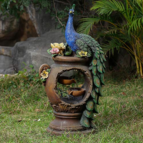 Winsome House Peacock and Pot Polyresin Patio Fountain with LED Lights