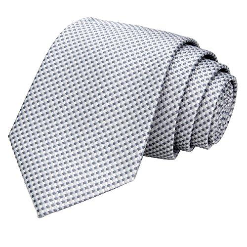 GASSANI Schmale Herren-Krawatte Hell-Graue Vichy Karo-Muster, Skinny Slim Dünne Karierte Hochzeitskrawatte Herrenschlips, Moderne Breite 7cm