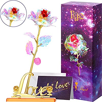 Infinity Rose Glod Rose Led Flower with Gold Love Base and Greeting Card, Romantic Rose Valentines Gift for Charming Girlfriend Wife Lover Home Decor
