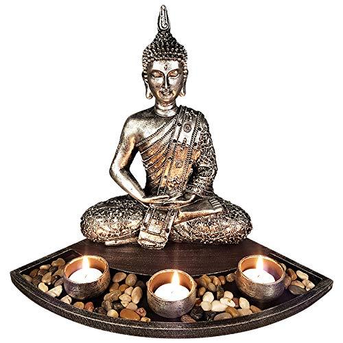 ZSQZJJ Jardín al Aire Libre Escultura Figura Estatua decoración,Buda Naturaleza Piedra Arenisca Tailandia Escultura de Buda Feng Shui estatuilla decoración del hogar en Miniatura