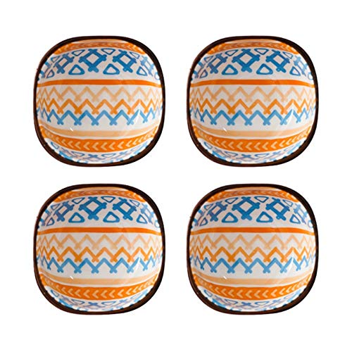 Plato para bocadillos 4 pulgadas debajo de la salsa de manualidades - plato de salsa - sumergir cuencos elegante diseño multiusos de porcelana plato de plato de platos de condimentos de solimas de soj