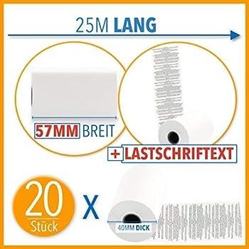 50 Thermorollen 57//18//12 /Ø 40mm HKR-Welt EC-Cash Rollen f/ür Star SM-L200 mit Lastschrifttext