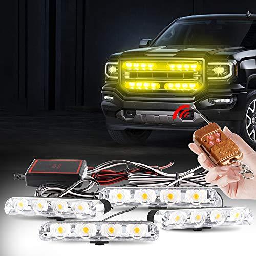 yifengshun 4 en 1 LED Luces de policía Estroboscópicas de Emergencia Para Camión Vehículo Advertencia Intermitente Precaución Bar Motorcycle Control Remoto Inalámbrico DC12V(Ámbar)