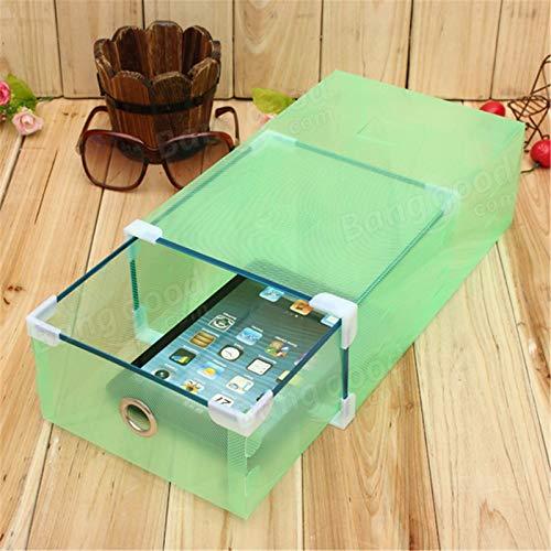 Chengzuoqing Caja de zapatos transparente cajón, organizador plegable, para zapatos y zapatos deportivos (tamaño: 30 x 17 x 9 cm; color: verde)