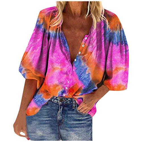 Fashion Women's Tie-dye Print Blouse V-Neck Long Sleeve Buttons Shirt Tops E-Scenery Pink