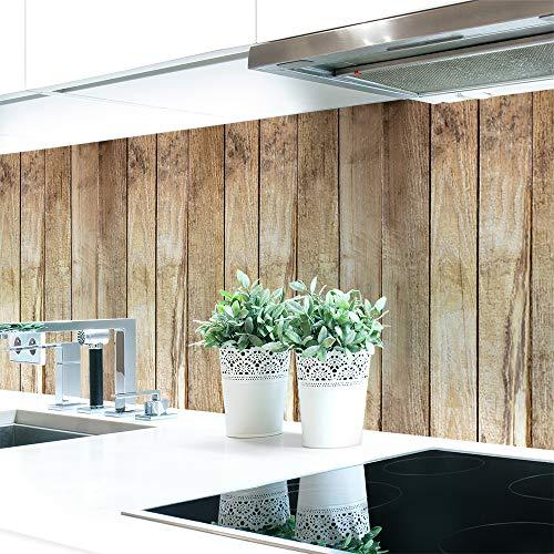 Küchenrückwand Bretterwand Hütte Premium Hart-PVC 0,4 mm selbstklebend - Direkt auf die Fliesen, Größe:Materialprobe A4