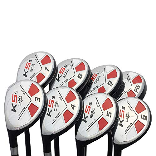 "Left Handed Majek Golf Senior Men's All Hybrid Complete Full Set, which Includes: #3, 4, 5, 6, 7, 8, 9, PW Senior Flex Total of 8 New Utility ""A"" Flex Clubs"