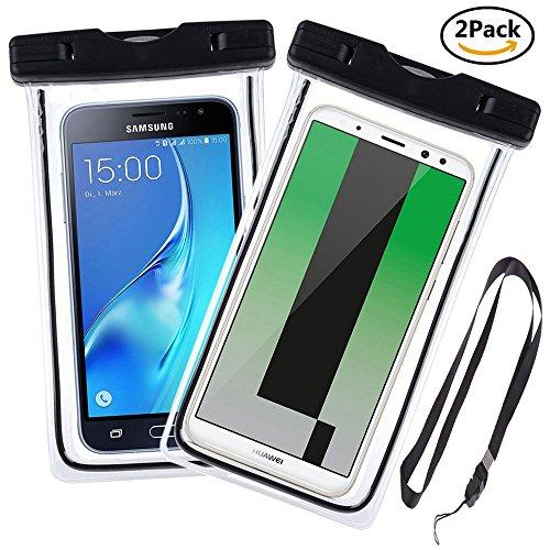 Ycloud Hohe Qualität [2 Pack] Wasserdichte Tasche, bis zu 6 Zoll, Tauchen Kanu Wassersport Tasche Geeignet für Nokia Lumia 735, Oukitel C5 Pro, Oukitel K3, Oukitel K6 -(Schwarz+Schwarz)