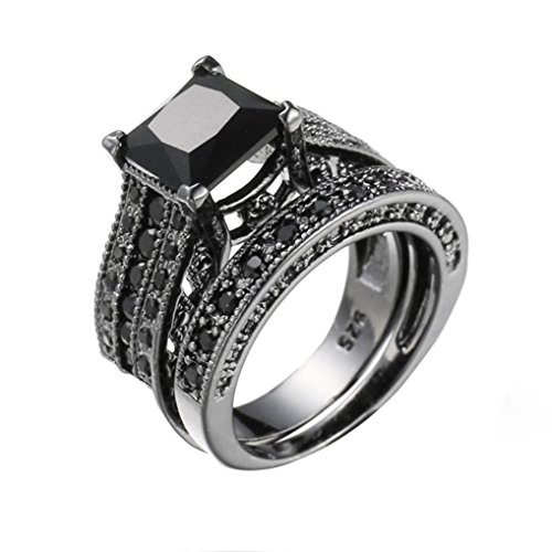 Auwer Rings, Clearance! 2-in-1 Womens Vintage White Diamond Silver Engagement Wedding Band Ring Set (US Size 7, Black)