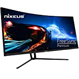 """Nixeus EDG 34"""" Ultrawide 3440 x 1440 AMD Radeon FreeSync Certified 144Hz 1500R Curved Gaming Monitor with Tilt Only Stand (NX-EDG34S) (Renewed)"""