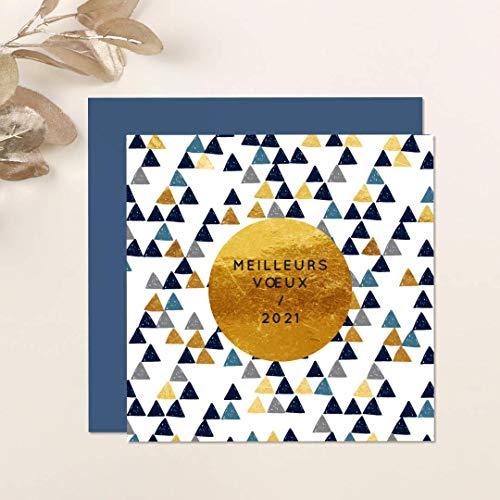 Carte de voeux 2021 • Triangles Bleu & Doré • Lot de 16 Cartes • Papier haut de gamme • 16 Enveloppes Couleur Bleu Marine • 14x14 cm Pliée • Idéal pour souhaiter la Bonne Année et Nouvel An • Popcarte