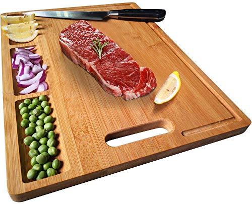 NIUXX Schneidebrett Premium Schneidebretter Bambus Bio antiseptisches Hackbrett 38.6x26.7x1.5cm Brotbretter mit Saftrille Langlebig Küchen-bretter Servierbretter mit Griff