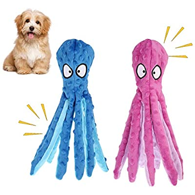 Phoetya 2Pcak Dog Squeaky Toys Octopus No Stuffing Crinkle Plush Dog Chew Toys for Puppy Teething Small Medium Dogs Training