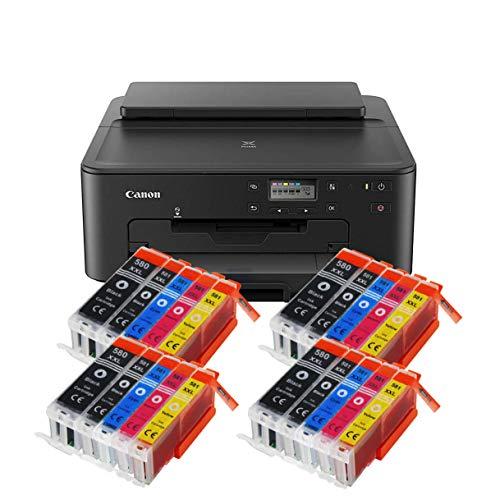 Canon Pixma TS705 TS-705 Farbtintenstrahl-Gerät (Drucker, USB, CD-Druck, WLAN, LAN, Apple AirPrint) Schwarz + 20er Set IC-Office XXL Tintenpatronen OHNE KOPIER- UND SCANFUNTKION
