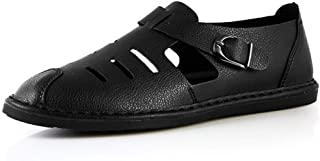 Xujw-shoes, Mens Summer Slippers Outdoor Water Sandals for Men Antislip Microfiber Leather Comfortable Breathable Fashion Flat Round Close Toe Buckle Durable