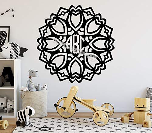 hetingyue Gepersonaliseerde slinger aangepaste naam muur sticker initiële monogram alfabet muur decal mandala kunst vinyl decoratie behang muurschildering