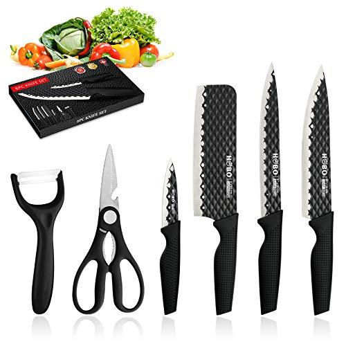 HOBO Küchenmesserset, Schwarz Professional Messerset, Edelstahl-Finish, inklusive Kochmesser, Brotmesser, Tranchiermesser, Universalmesser und Gemüsemesser