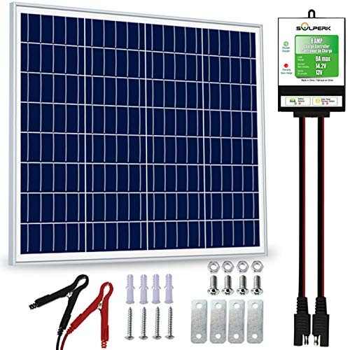 SOLPERK 50W Solar Panel,12V Solar Panel Charger Kit+8A Controller,Suitable for Automotive,...