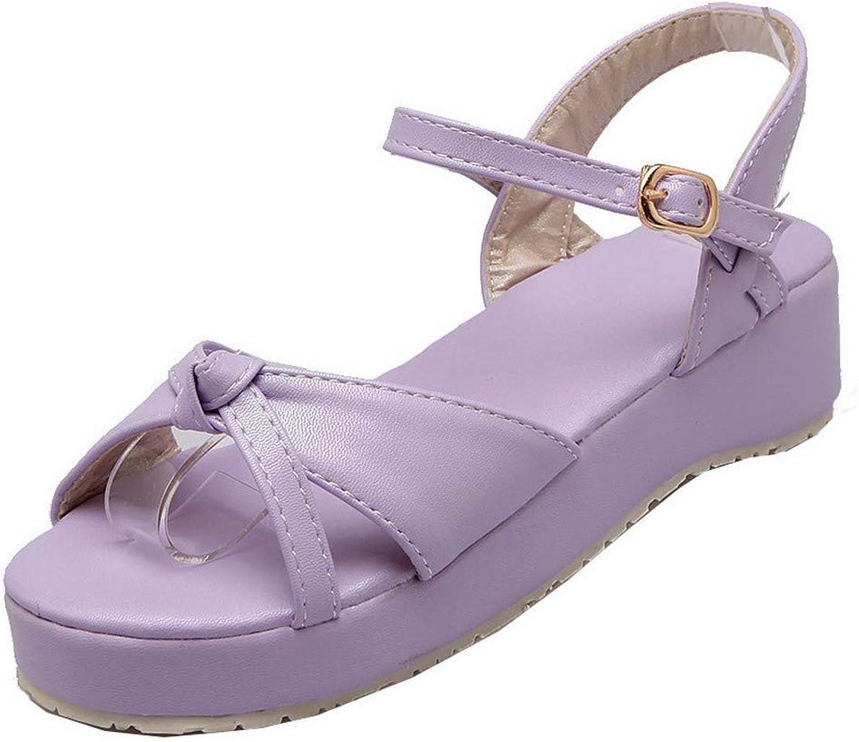 WeenFashion Women's Buckle Open Toe Low-Heels Pu Solid Sandals,AMGLX007198