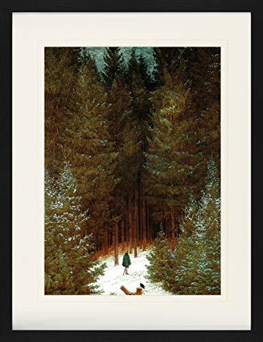 1art1 Caspar David Friedrich - Der Chasseur Im Walde, 1813 Gerahmtes Bild Mit Edlem Passepartout | Wand-Bilder | Kunstdruck Poster Im Bilderrahmen 80 x 60 cm