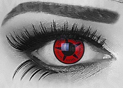 Meralens 1 Paar Farbige Anime Sharingan Kontaktlinsen Manga Naruto in rot schwarz perfekt zu Manga Hereos of Cosplay, Halloween mit gratis Kontaktlinsenbehälter rote 12 Monatslinsen ohne Stärke 14mm