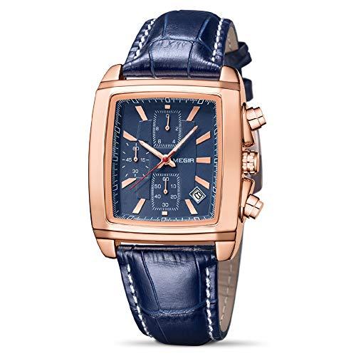 MEGIR Reloj de cuarzo con cronógrafo analógico luminoso y rectángulo con correa de cuero elegante para deporte y trabajo, Azul / Patchwork, Reloj de cuarzo, cronógrafo