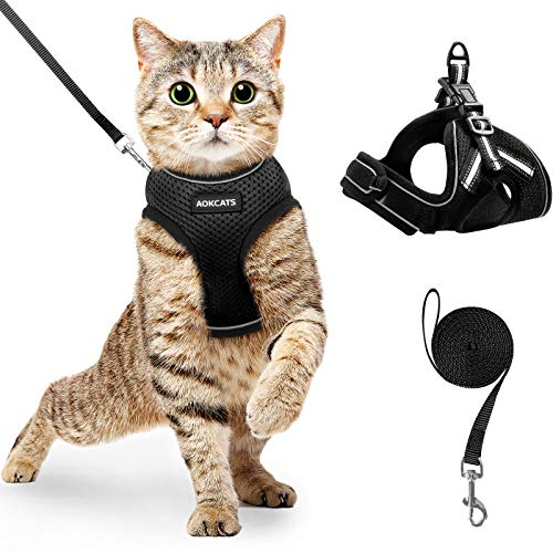 AOKCATS Cat Harness and Leash Set for Walking Escape Proof, Soft Adjustable Kitten Harness with Reflective Strips, Step-in Vest Harness for Small Cats Comfort Fit Cat Leash and Harness Set, Black, S