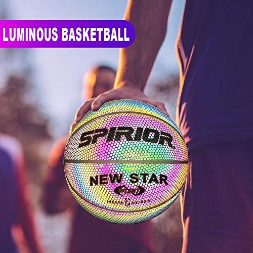 Equival - Balón de baloncesto luminoso, reflectante, brillante, juego nocturno, de poliuretano, con luz del arco iris, para entrenamiento al aire libre, herramientas de deportes para niños sostenibles