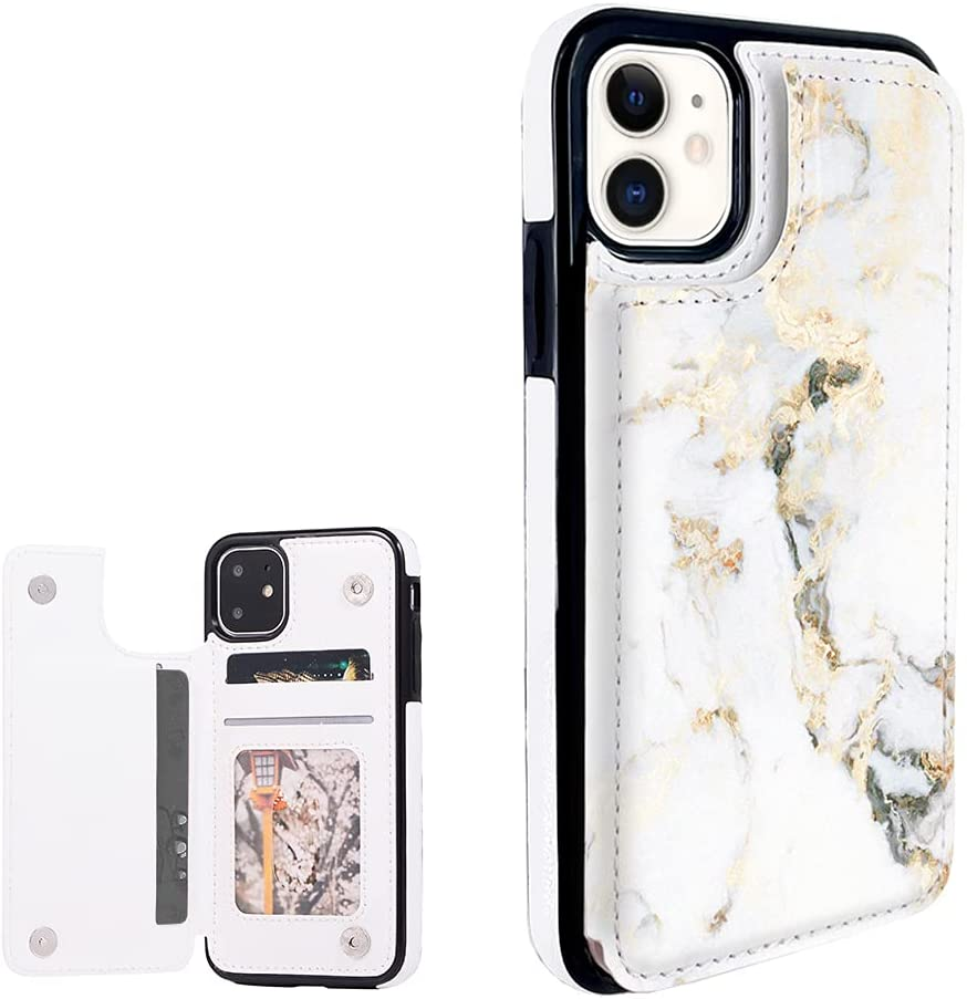 Obbii White Gold Marble Leather Wallet Flip Case Phone Compatible with iPhone 11 6.1
