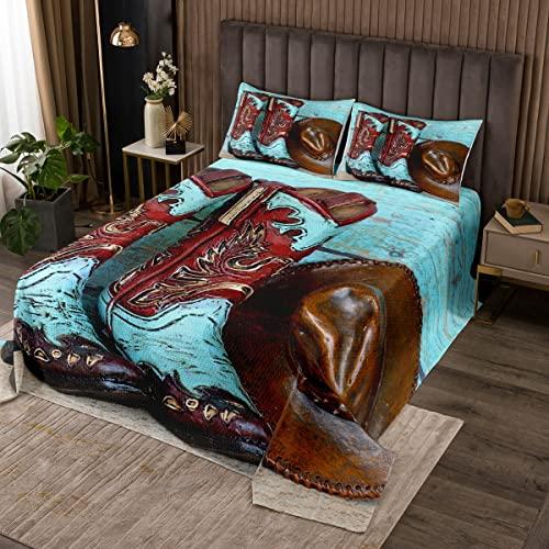 Set di biancheria da letto per bambini e ragazzi, stile vintage, con copripiumino e stivali da cowboy, set di biancheria da letto con 1 federa per cuscino, misura singola
