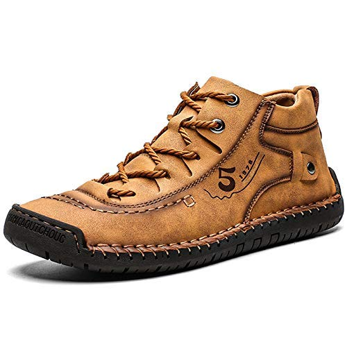 Dacomfy Mens Casual Shoes Loafers Leather Slip-On Ankle Boots Hand Stitching Chukka Shoes Breathable Lace-up Driving Walking Shoes (Brown-2, Numeric_10)